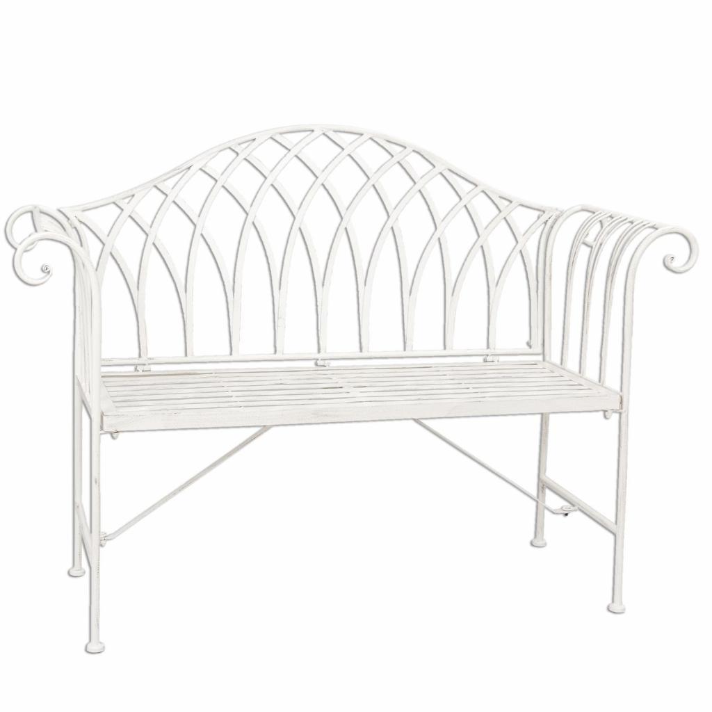 Produktové foto Bílá kovová zahradní lavice Benchy - 128*44*93 cm