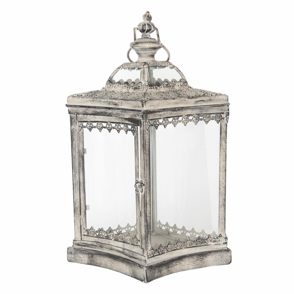 Produktové foto Kovová lucerna Antik silver I - 33*25*51 cm