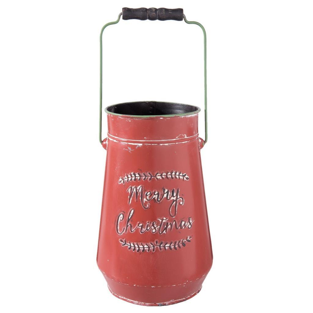 Produktové foto Dekorační červená retro konev Merry Christmas- Ø 19*30 cm / 5L