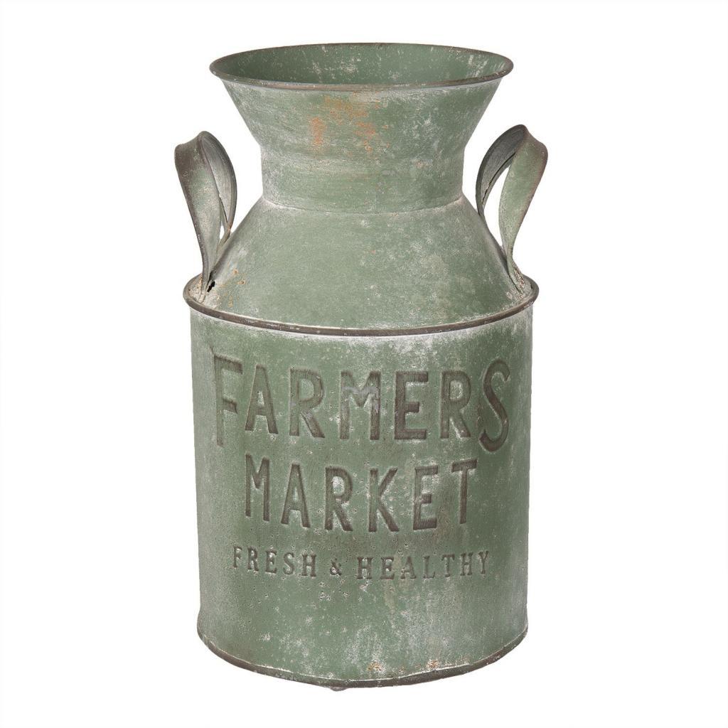 Produktové foto Zelená plechová konev Farmers market - Ø 17*29 cm / 4L