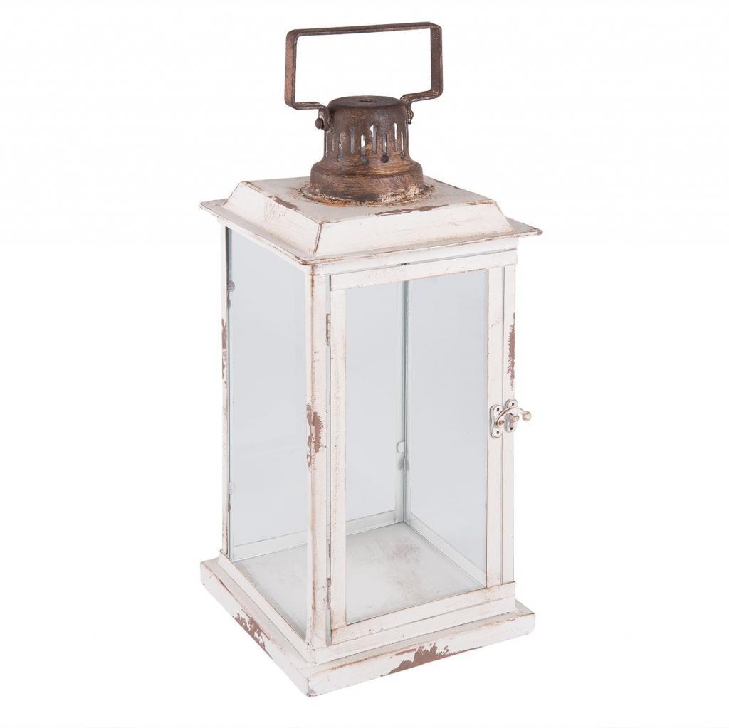 Produktové foto Krémová kovová lucerna Antik  - 19*19*43 cm