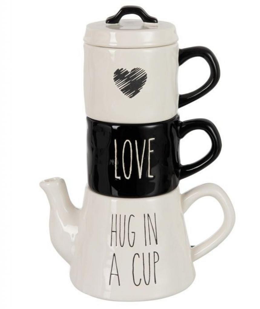 Produktové foto Bílo-černý Tea for 2 Love -  20*13*28cm