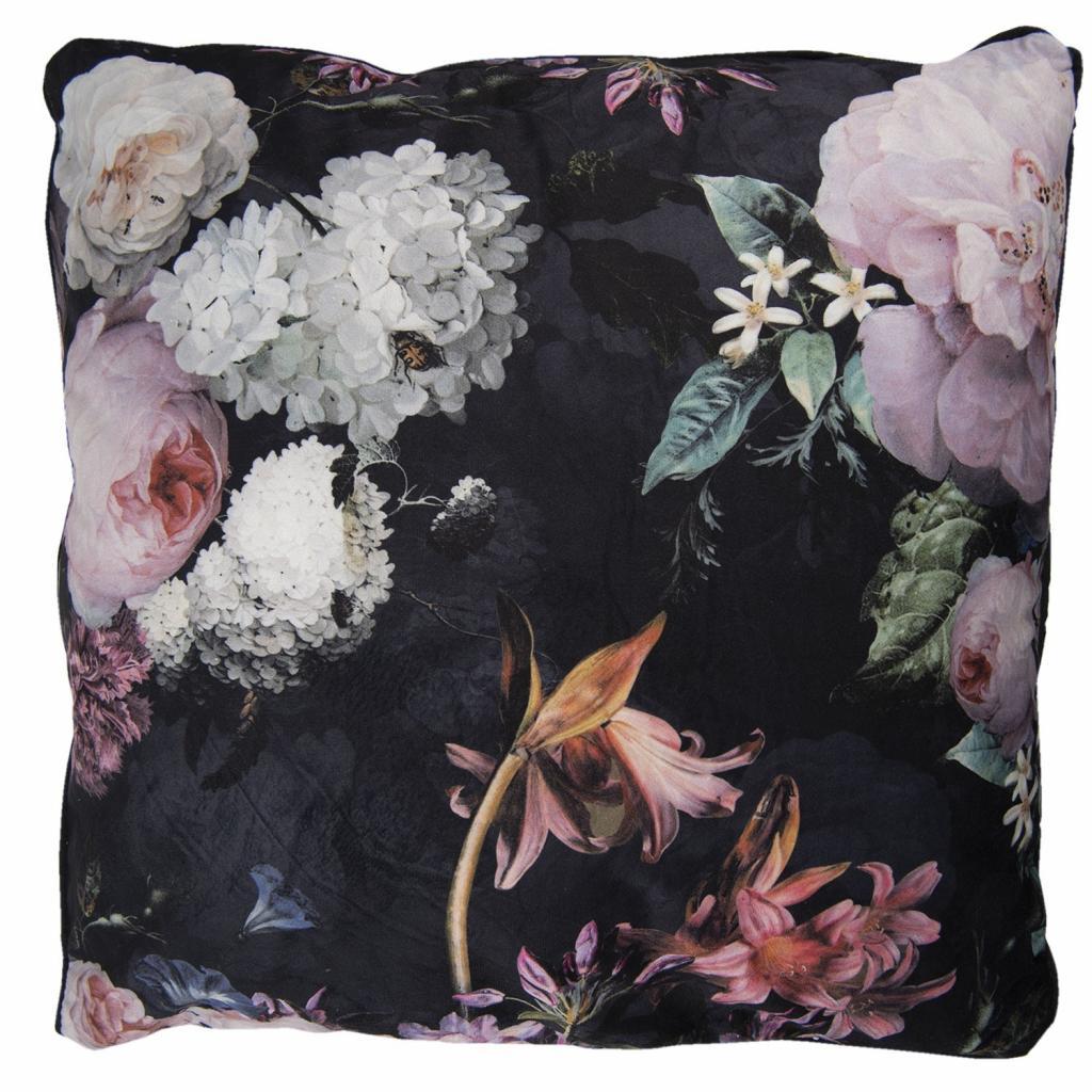 Produktové foto Černý sametový polštář s výplní Flower - 45*45cm