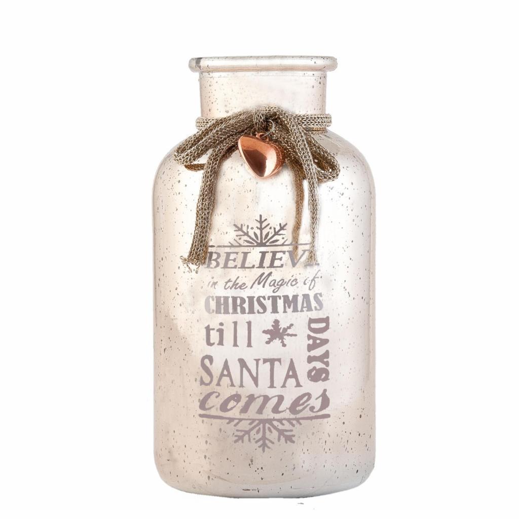 Produktové foto Růžová dekorační láhev / váza Christmas -  Ø 10*20 cm