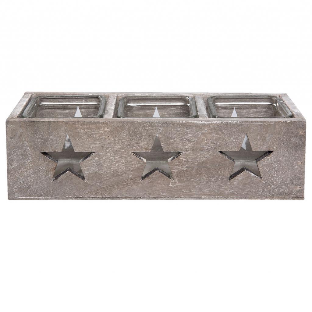 Produktové foto Dřevěný svícen s hvězdami - 27*9*8 cm
