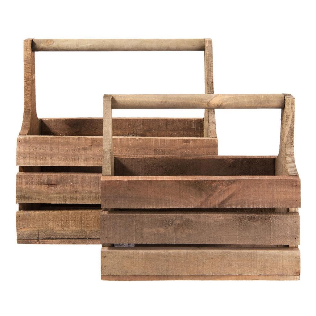 Produktové foto 2 dřevěné bedýnky s držadlem - 41*21*41 cm / 36*15*32 cm