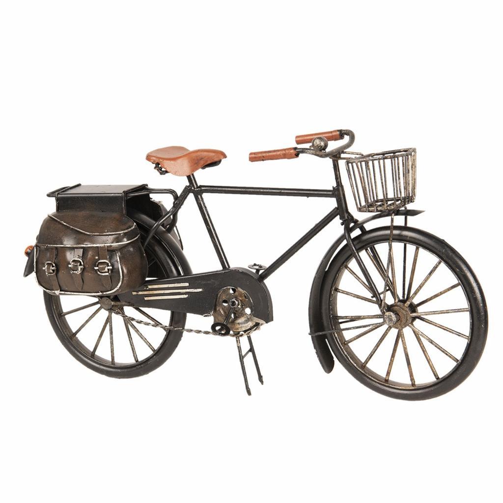 Produktové foto Kovový retro model kola s košíkem a brašnou - 31*9*16 cm