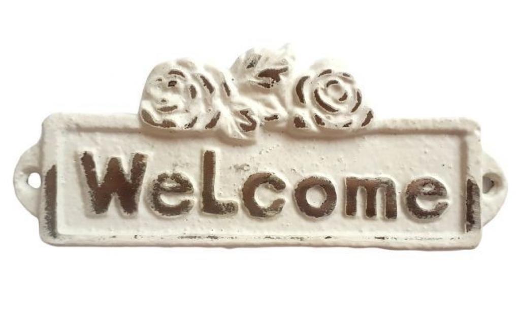 Produktové foto Bílá litinová cedulka Welcome - 13*1*5 cm