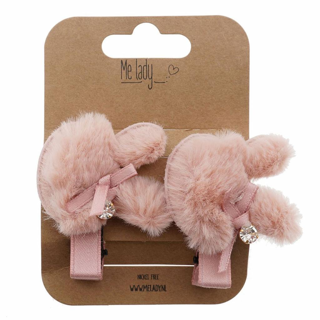 Produktové foto 2ks růžové chlupaté sponky do vlasů králík - 4 cm