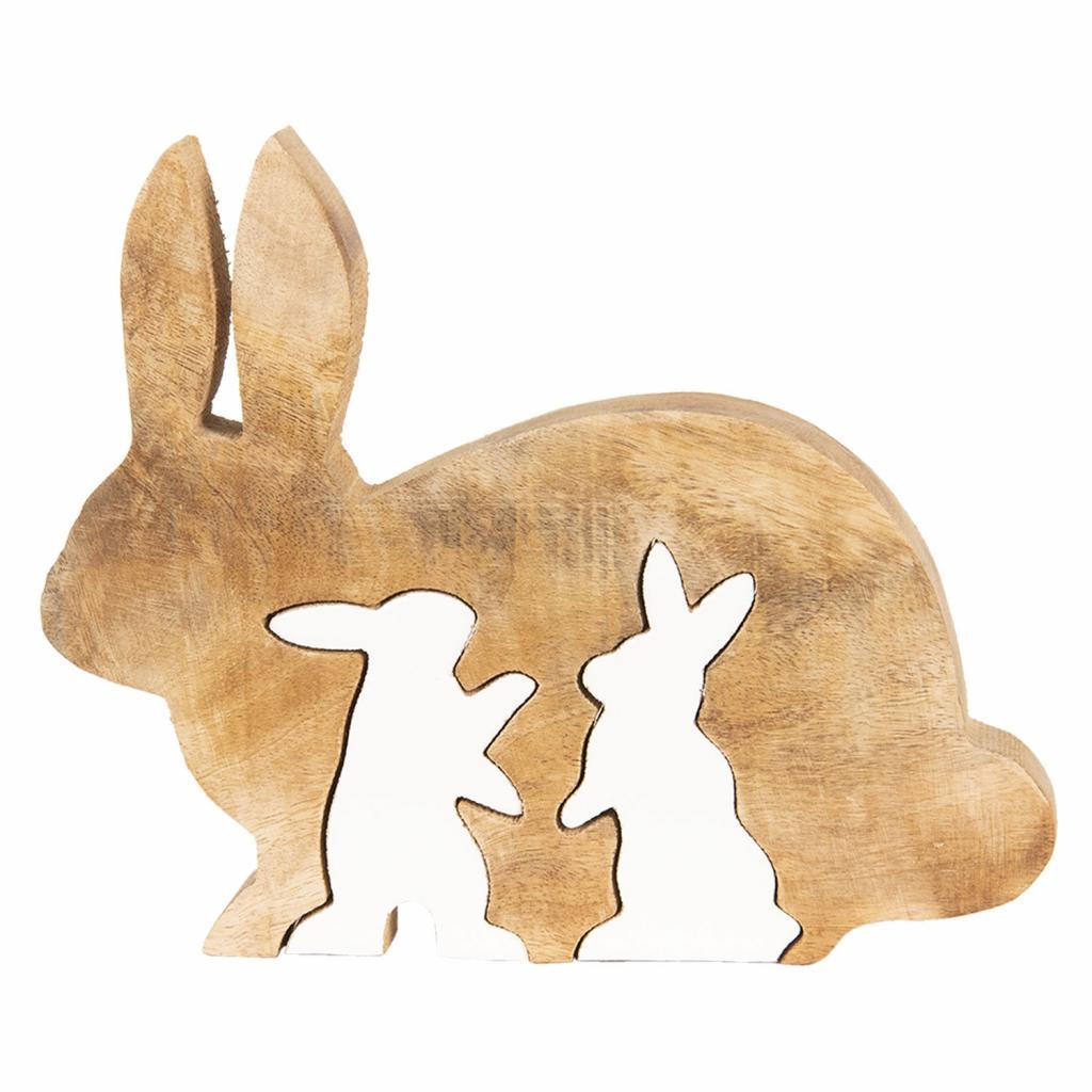 Produktové foto Velikonoční dekorace ze dřeva Králíci - 22*18*2 cm