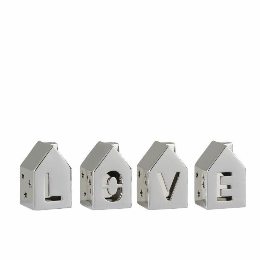 Produktové foto J-Line by Jolipa Set 4 stříbrných domečků s nápisem Love - 7*7*11 cm
