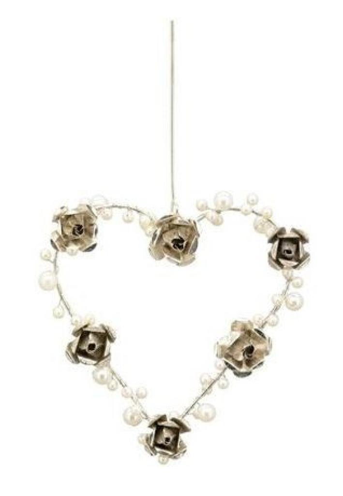 Produktové foto Závěsné stříbrné kovové srdce s perličkami a růžemi - 13*2*13cm