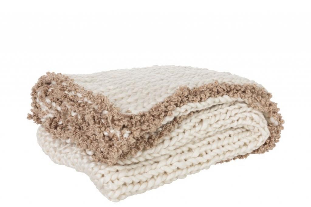 Produktové foto Krémový pléd s velikými oky Crocheted -  150*154cm