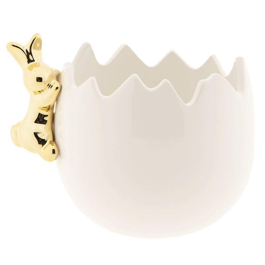 Produktové foto Bílá porcelánová skořápka se zlatým králíkem - 11*10*10 cm