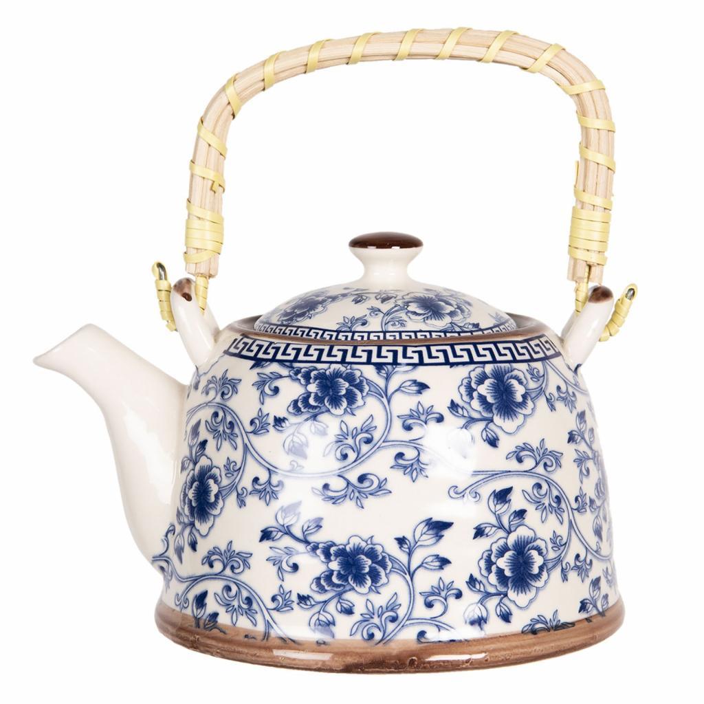 Produktové foto Konvička na čaj s modrými květy - 18*14*12 cm / 0,8L
