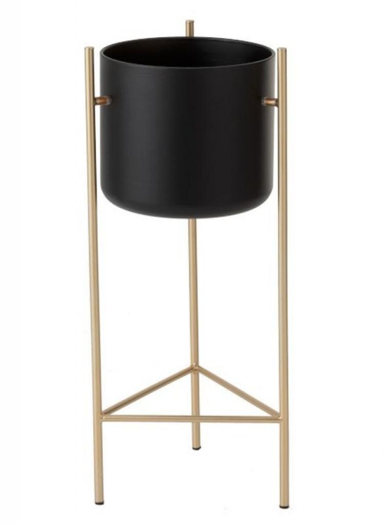 Produktové foto Černý kovový květináč na zlaté noze - Ø 28*66 cm