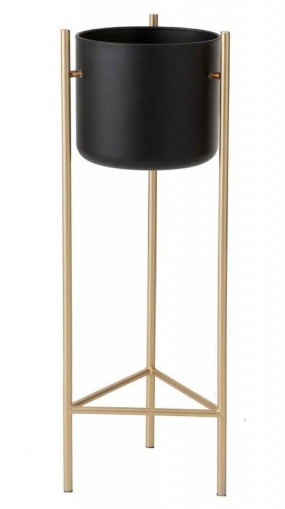 Produktové foto Černý kovový květináč na zlaté noze - Ø 28*81 cm