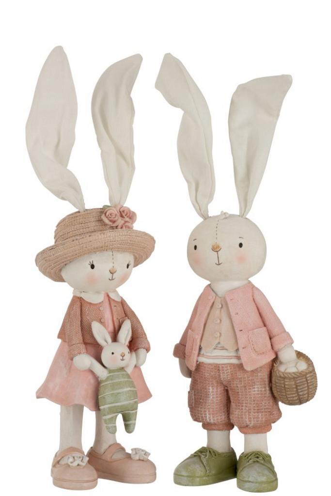 Produktové foto J-Line by Jolipa Dekorace králičí chlapec a dívka - 11*40cm