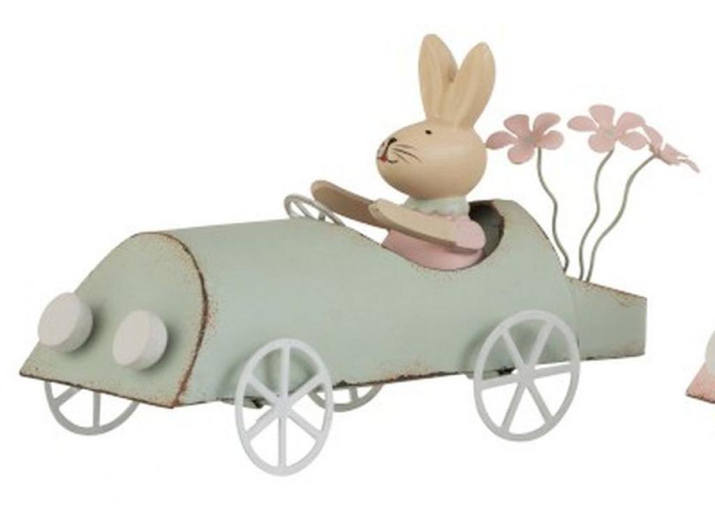 Produktové foto J-Line by Jolipa Retro dekorace králíček v zeleném autě - 17*7,5*9,5cm