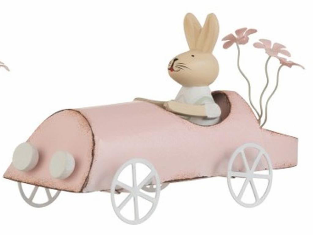 Produktové foto J-Line by Jolipa Retro dekorace králíček v růžovém autě - 17*7,5*9,5cm