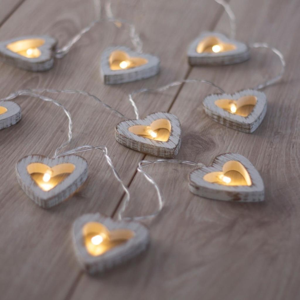 Produktové foto LED světelný řetěz ve tvaru srdíček DecoKing Heart, 10 světýlek,délka1,65m