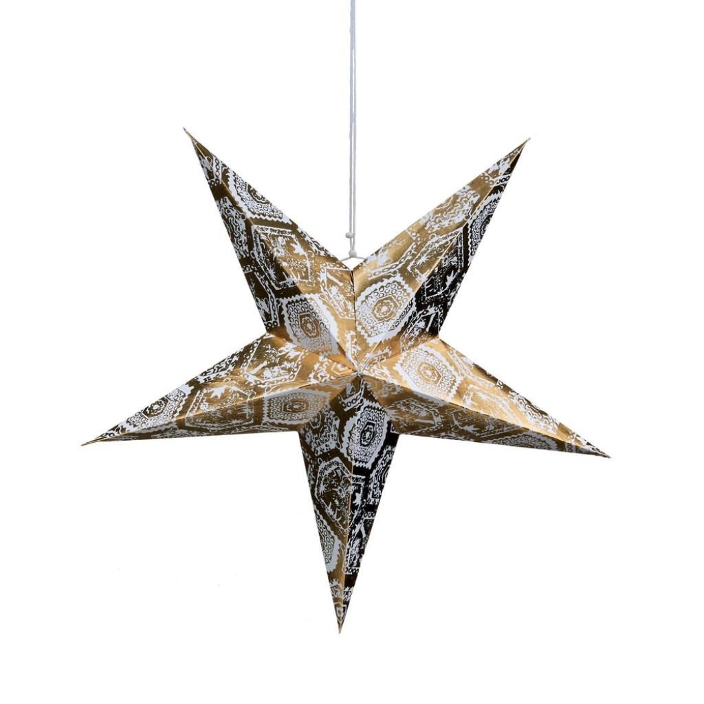 Produktové foto LATERNA MAGICA Papírová dekorační hvězda 60 cm - zlatá/bílá