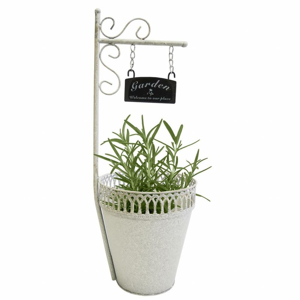 Produktové foto Kovový květináč s cedulkou Garden, 20 x 55 cm