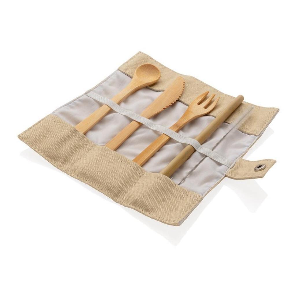 Produktové foto Cestovní set bambusových příborů s brčkem, čistícím kartáčkem a obalem XD Collection