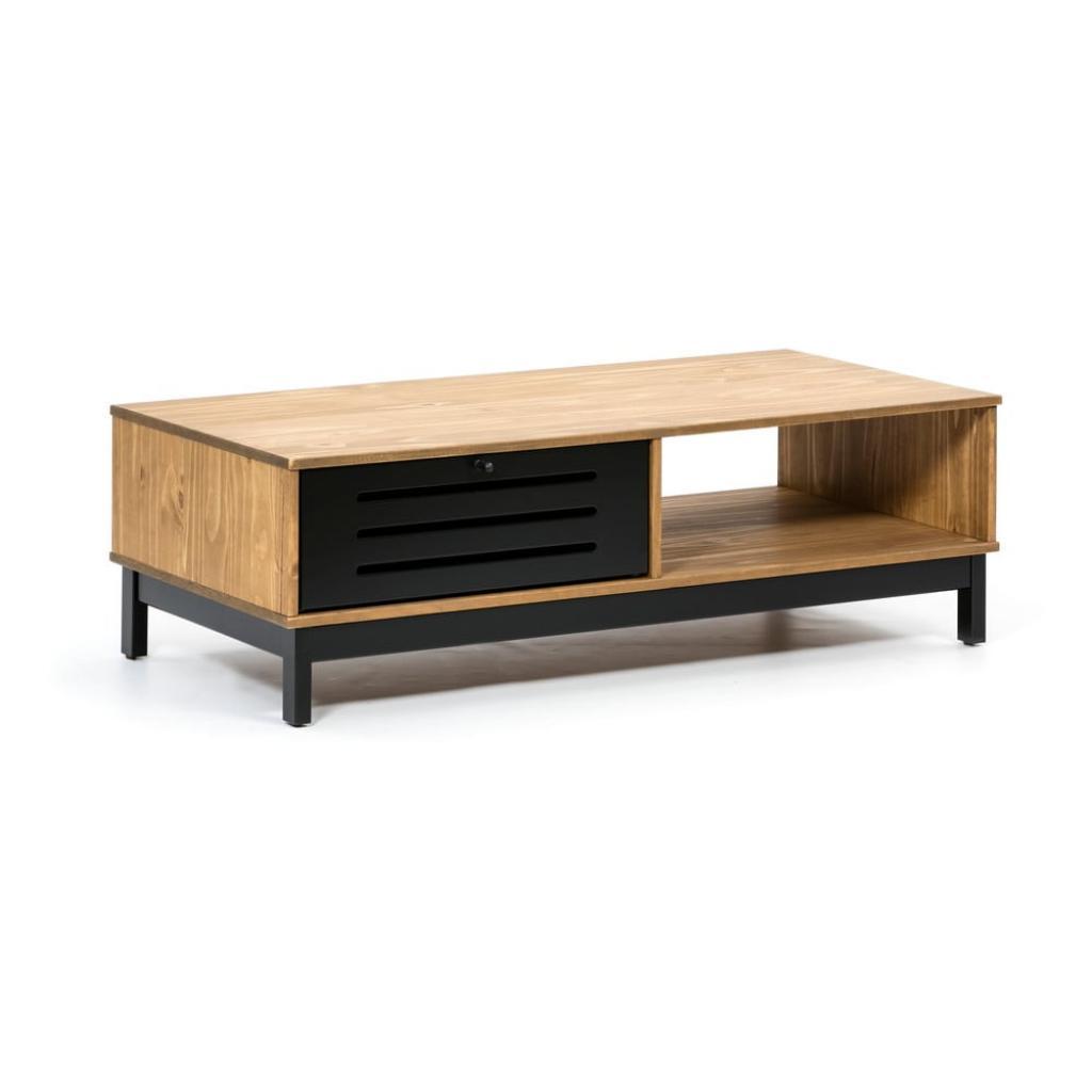 Produktové foto Dřevěný konferenční stolek s černými detaily Marckeric Alessia
