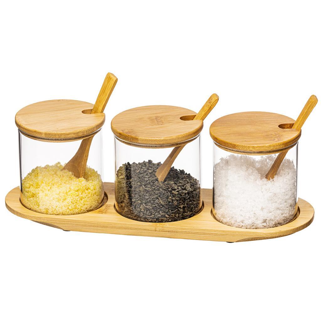 Produktové foto 4Home Sada skleněných dóz s podnosem a lžičkami Bamboo, 310 ml
