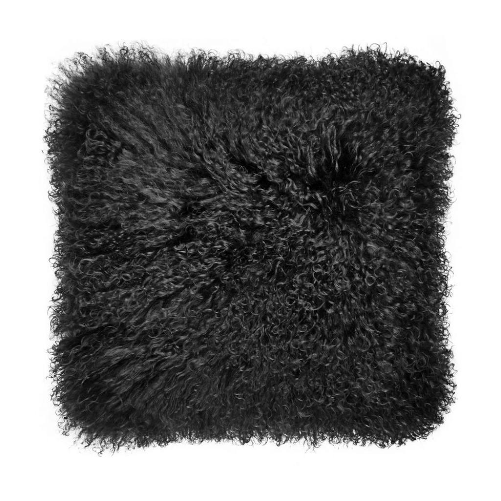 Produktové foto TASHI Polštář z tibetské jehněčí kůže 40 x 40 cm - černá