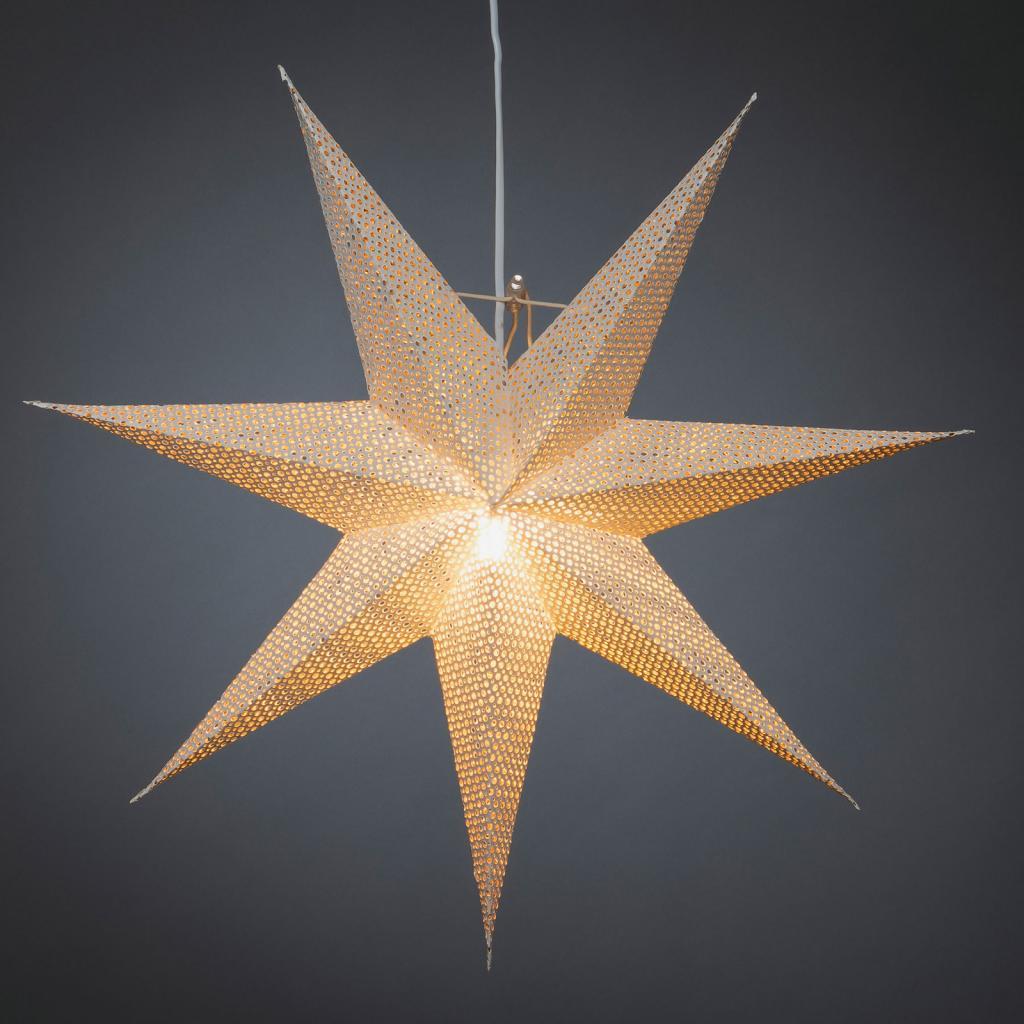 Produktové foto Konstmide CHRISTMAS Hvězda bílý papír, děrovaný vzor, 7cípá