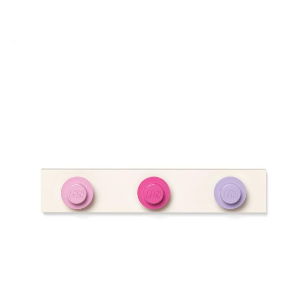 Produktové foto Nástěnný věšák v světlě růžové, tmavě růžové, tmavě šedé barvě LEGO®