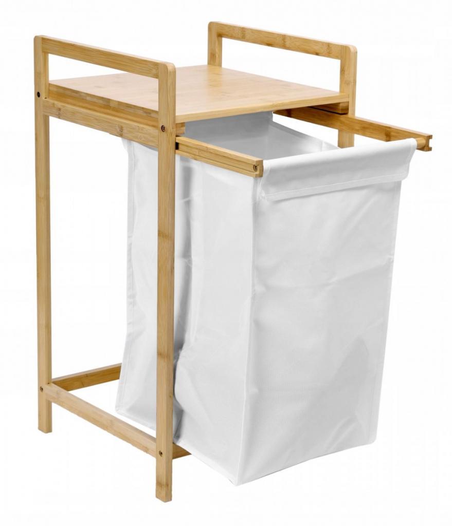 Produktové foto TZB Vysouvací bambusový koš na prádlo HANOI hnědo-bílý