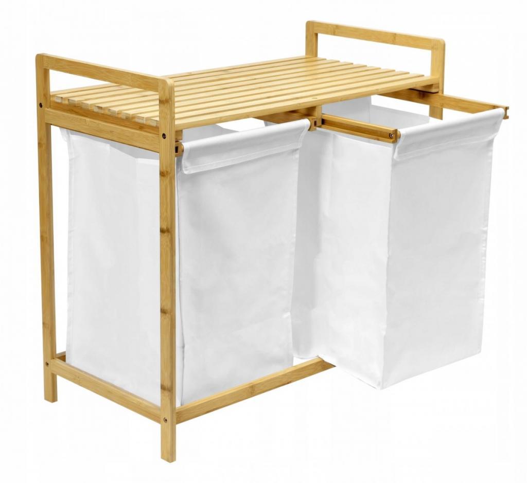 Produktové foto TZB Vysouvací bambusový koš na prádlo HANOI hnědo-bílý - 2 přihrádky