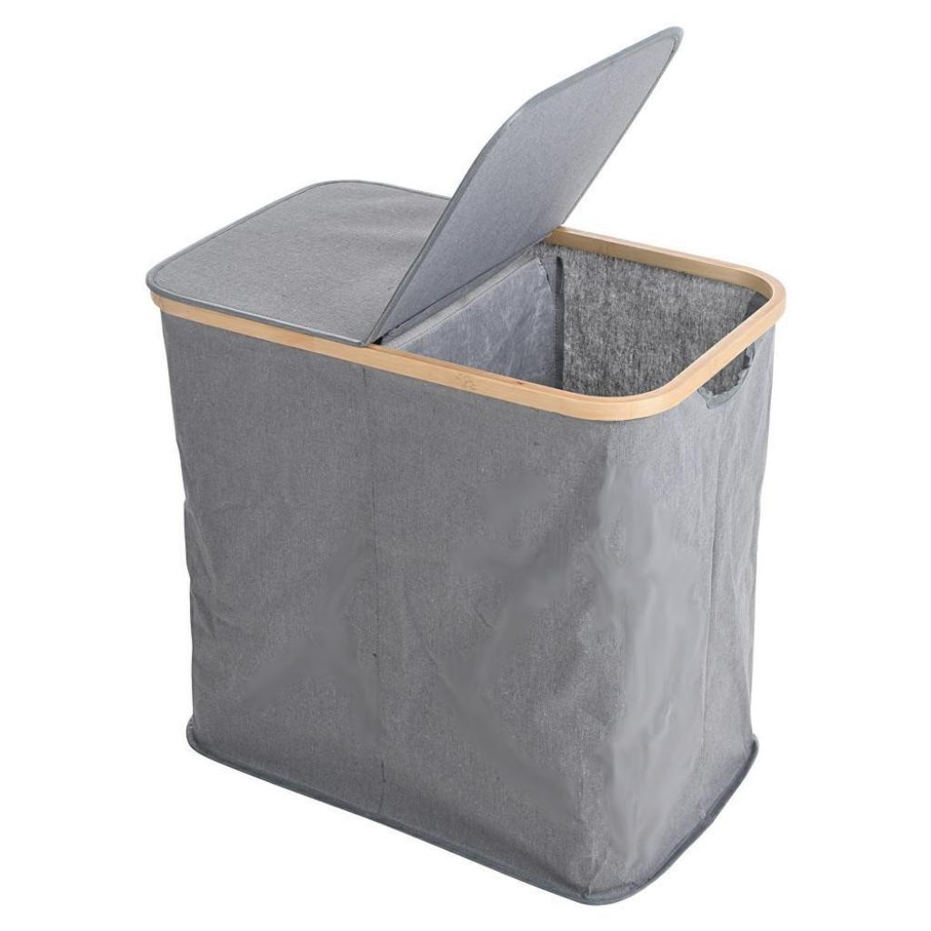 Produktové foto DekorStyle Dvoukomorový koš na prádlo Esmerid šedý