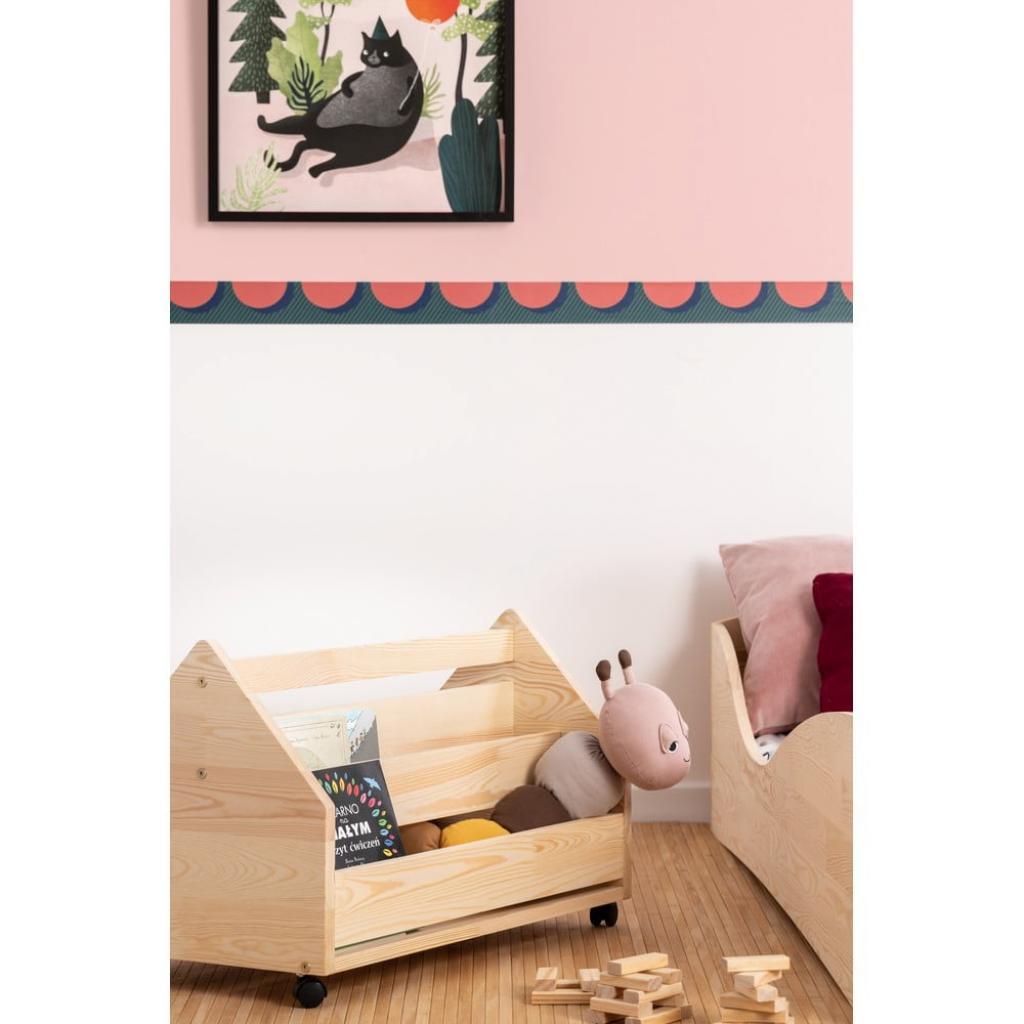 Produktové foto Pojízdný úložný box z borovicového dřeva Adeko Kutu Alma,60cm