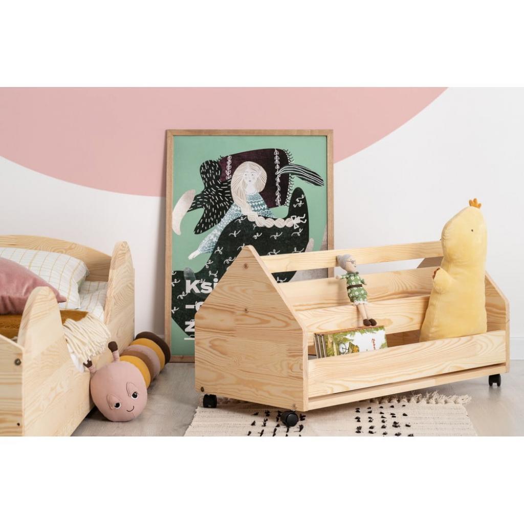 Produktové foto Pojízdný úložný box z borovicového dřeva Adeko Kutu Alma,80cm