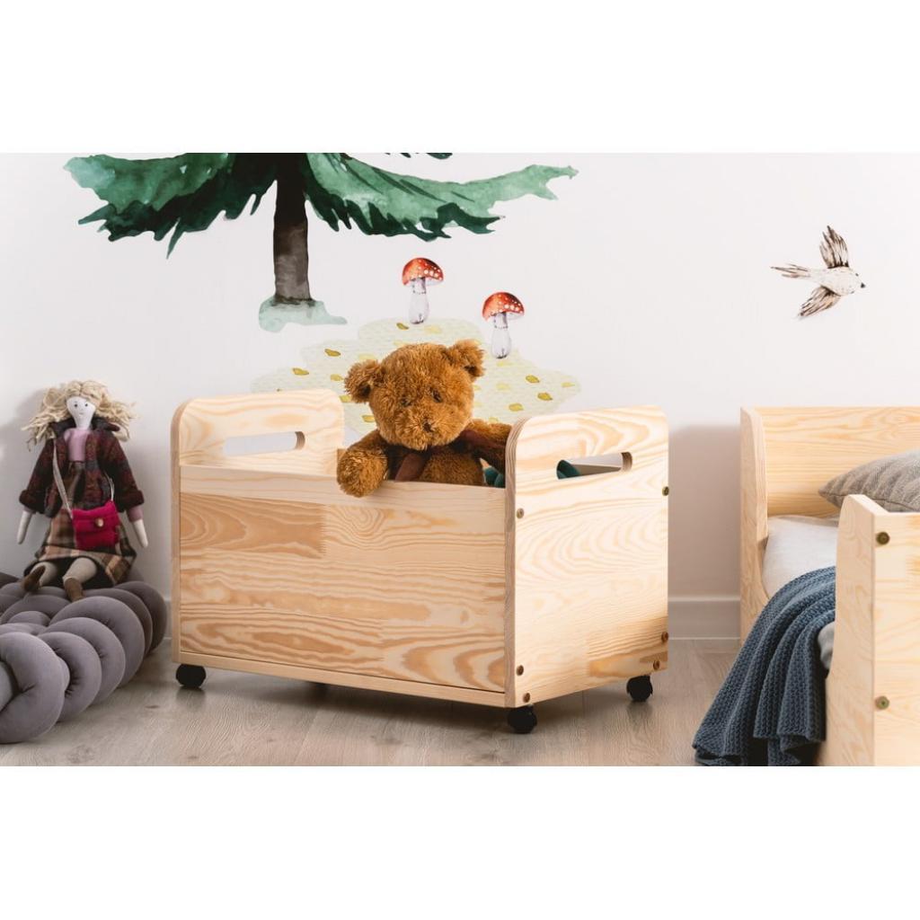 Produktové foto Pojízdný úložný box z borovicového dřeva Adeko Kutu Bella,60cm