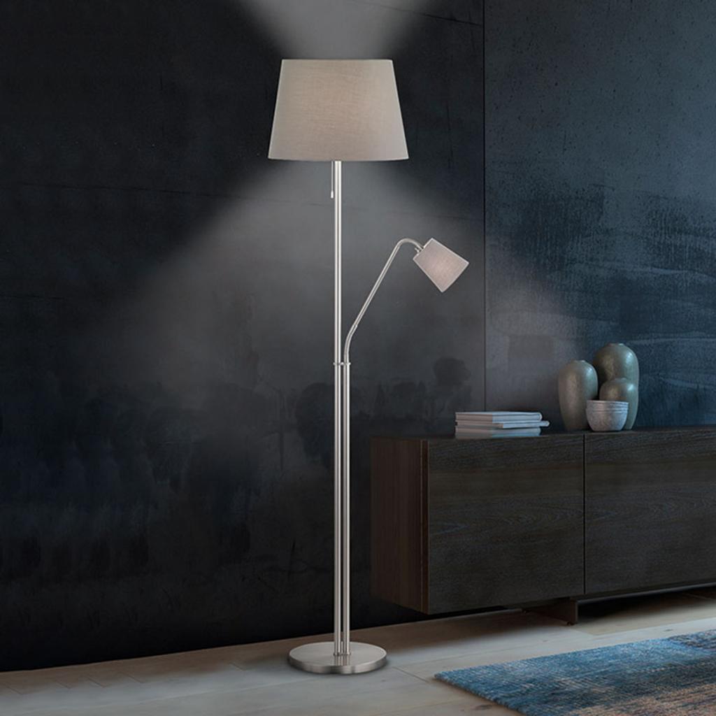 Produktové foto FISCHER & HONSEL Textilní stojací lampa Layer, čtecí světlo, šedá