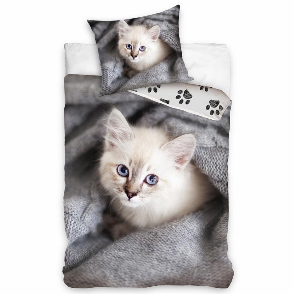 Produktové foto Tiptrade Dětské Bavlněné povlečení Koťátko v pelíšku, 140 x 200 cm, 70 x 90 cm