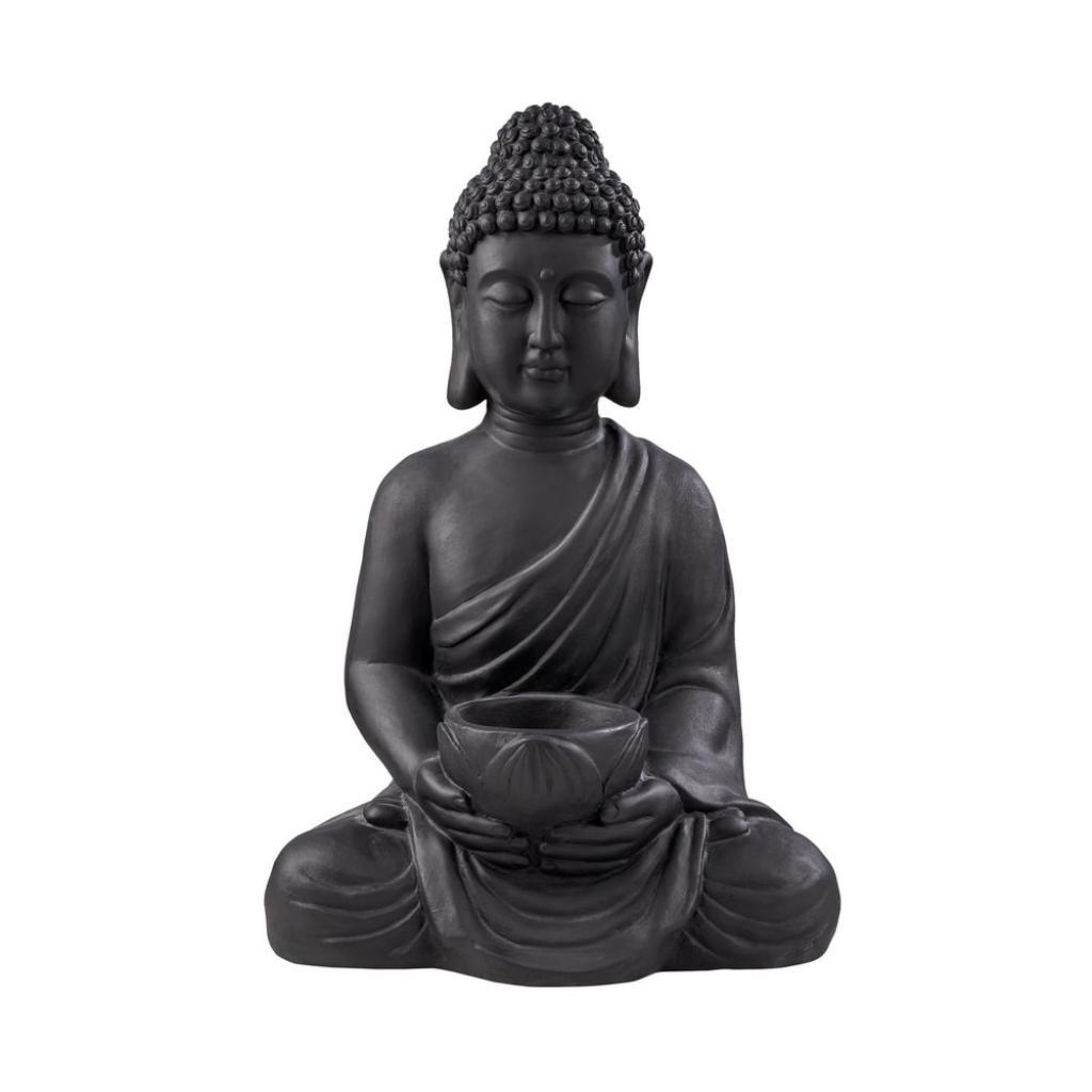 Produktové foto BUDDHA Soška sedícího Buddhy s táckem na svíčku - černá