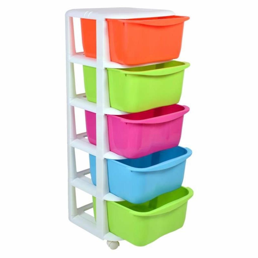 Produktové foto TZB Plastový regál na kolečkách s 5 barevnými šuplíky