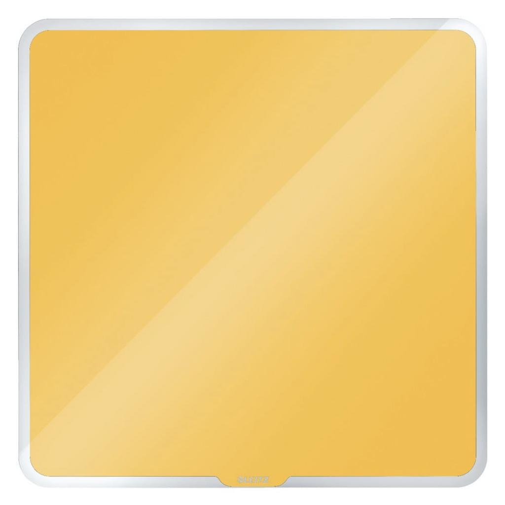 Produktové foto Žlutá magnetická skleněná tabule na zeď Leitz Cosy, 45 x 45 cm