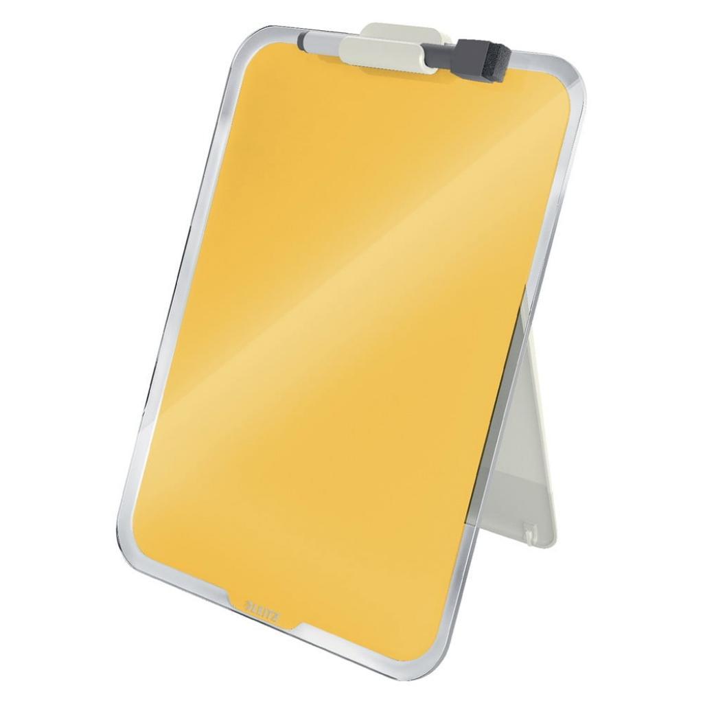 Produktové foto Žlutý skleněný flipchart na stůl Leitz Cosy, 22 x 30 cm