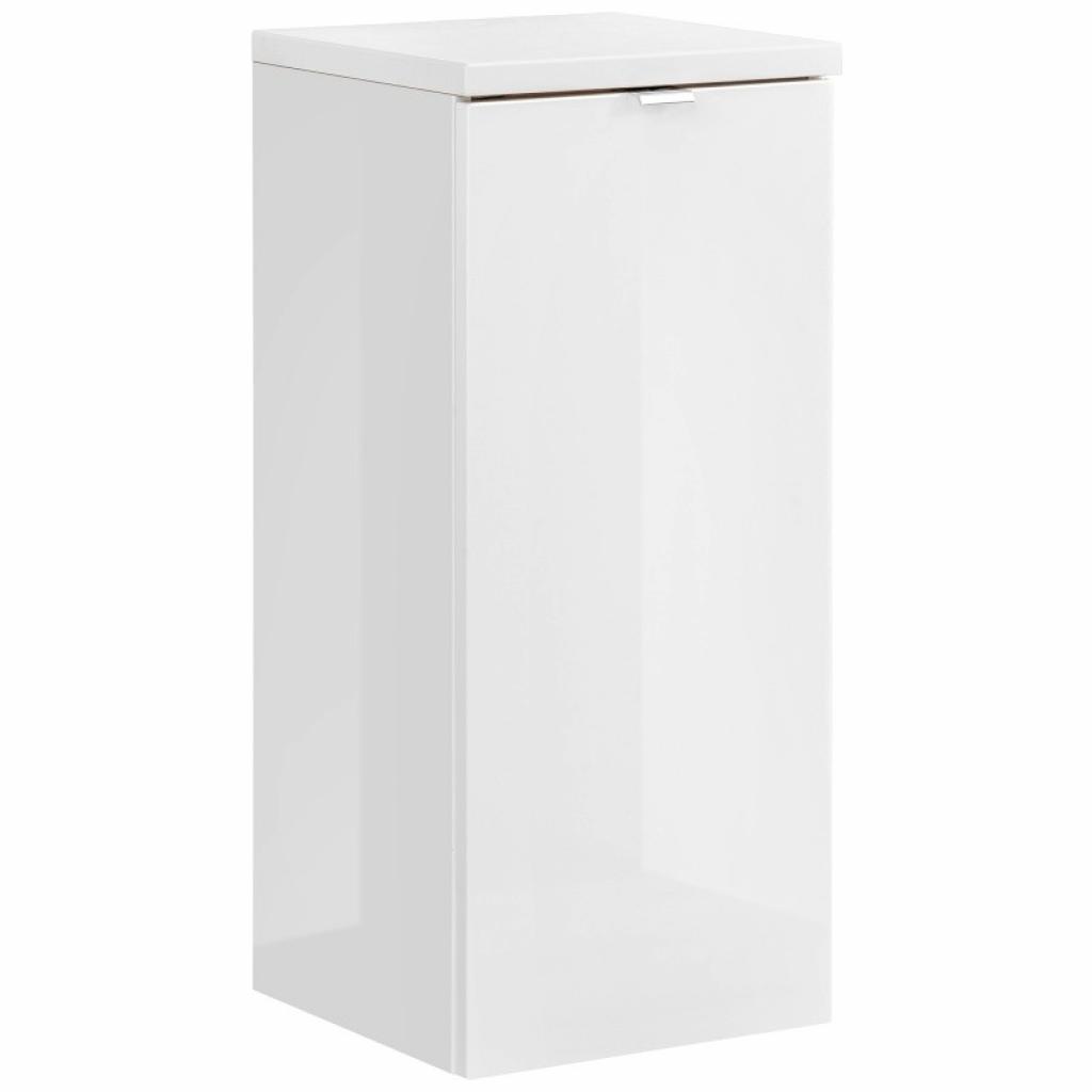 Produktové foto Hector Koupelnová skříňka LOW CAPRI s košem na prádlo bílý lesk/zlatý dub