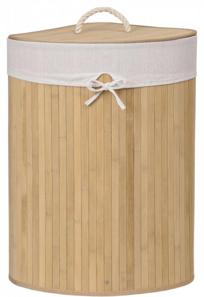 Produktové foto TZB Rohový bambusový koš na prádlo s víkem 60L hnědý