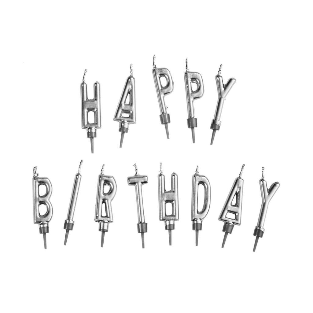 Produktové foto HAPPY BIRTHDAY Svíčky na dort set - stříbrná