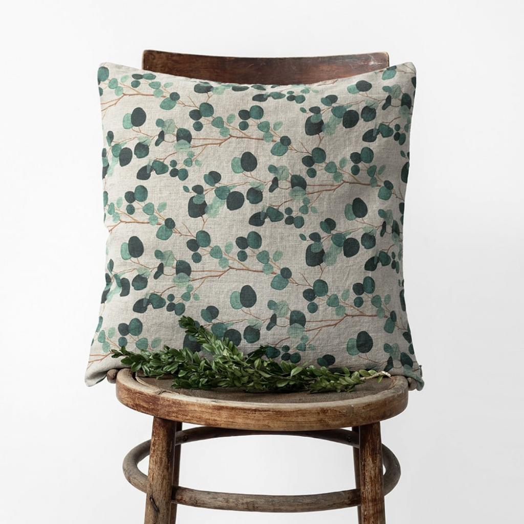 Produktové foto Lněný povlak na polštář Linen Tales Natural Eucalyptus, 45x45cm