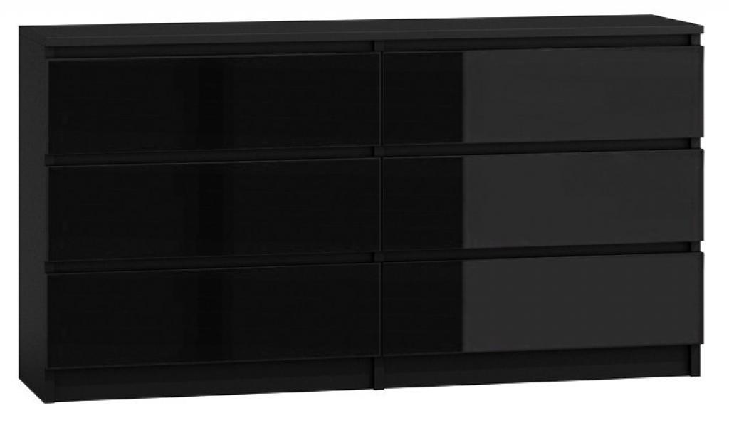 Produktové foto Shoptop Komoda MALWA M6 140 cm lesklá černá